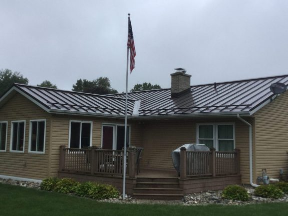 Ground view of installed metal roof.