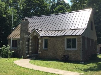 Standing seam metal roof on a house.