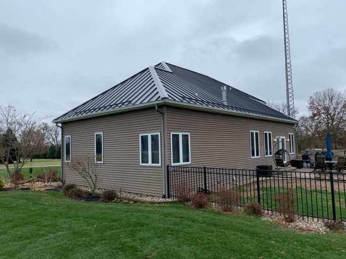 Burnished Slate standing seam metal roofing near Granger IN.